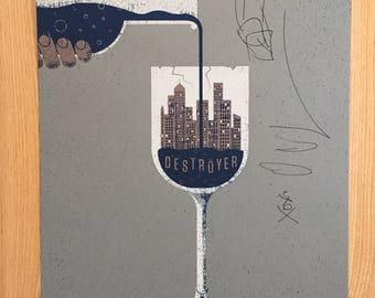 Autographed Destroyer gig poster