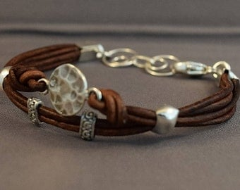 Leather Bracelet-Women Bracelet-Brown Bracelet-Women Leather Bracelet-Charm Bracelet-Sterling Silver Bracelet-Friendship Bracelet-Gifts