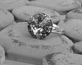Black and silver crystal ring, Bridesmaid Gift ring, Swarovski crystal ring, silver crystal ring gift,