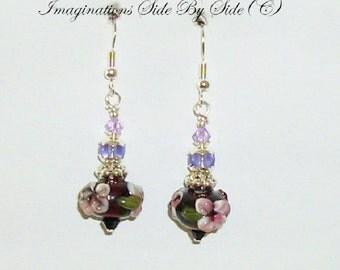 Earrings Purple floral lampwork Glass crystal Women's earrings Dangle earrings Handmade USA Silver earrings Free shipping MarieADawson