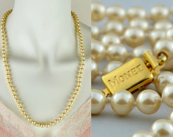 "Matinee length faux pearl necklace by Monet | vintage 1960s 24"" knotted cream champagne single strand simulated pearls 