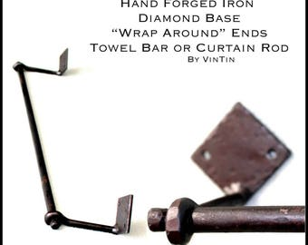Hand Forged Iron Hammered-Style Diamond Base Wrap Around Ends Towel Holder or Curtain Rod by VinTin