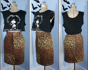 Womens Vintage High Waisted Cheetah Print 80s Skirt by Made in the Shape Size Small Rocker Chic 70s Punk 80s New Wave Retro Rockabilly
