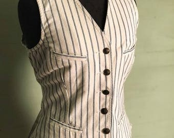 1990's Ralph Lauren Jeans Ticking Stripe Menswear Inspired Waistcoat Vest