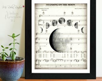 Grateful Dead, Standing on the Moon, on Music Sheet, Print