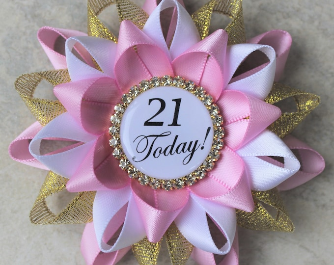21st Birthday Pin, 21st Birthday Party Decorations, Gift for Her, 21st Birthday Party Ideas, Twenty First Birthday, Bubblegum, Gold, White