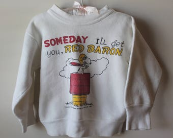 Vintage Child's Snoopy Red Baron Sweatshirt Vintage Child's Snoopy Sweatshirt Vintage Child's Peanuts Sweatshirt 1960's Peanuts Sweatshirt
