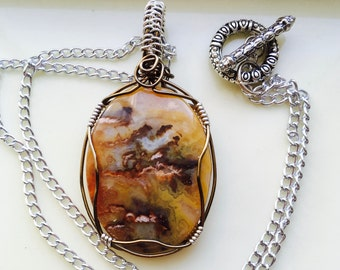 Carmel and Brown Agate Pendant, Silver Necklace