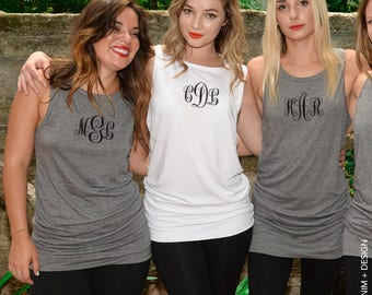 Monogram Tank Top Dress - Monogram Bride Shirt, Custom Bridesmaid Shirts,Custom Bridal Party Tank Top,Monogram Tanks,Tunic Length,Tank Dress