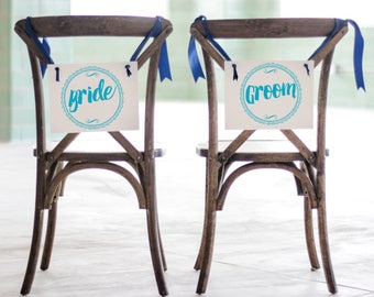 Bride & Groom Chair Signs Set of 2 Hanging Signs Head Table Chair Banners Paper w/ Ribbon | Handmade USA Modern Script Font 1084 BW