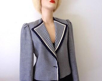 Vintage LOUIS FÉRAUD Jacket - houndstooth check wool cropped suit coat - 1980s designer vintage