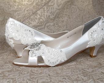 Woman's Low Heel Wedding Shoes 1.75 - Woman's Vintage Wedding Lace Peep Toe Heels, Women's Bridal Shoes, Wedding Shoes, Bridesmaid
