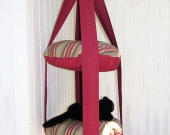 Outdoor Cat Tree, Burgundy & Green Stripe, 2 Level Kitty Cloud Cat Bed, Hanging Cat Bed, Pet Furniture, Cat Tree, Catio Furniture