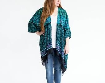 Dreamland Mandala Kimono <Teal Turquoise, Black, Pink Beach Boho Design> Gypsy Fashion, Bohemian Swag, Jacket Poncho