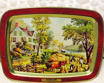 Vintage Currier and Ives Tray Metal Tin Harvest Time Farmhouse Lap Serving