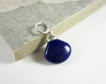 L - Lapis Lazuli Pendant - Dark Blue Lapis Jewelry - Wire Wrapped Lapis Pendant - Lapis Necklace Pendant - Navy Blue Stone Jewelry