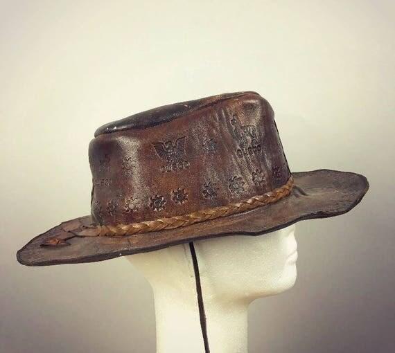 ViNtAgE Structured Leather Embossed Distressed Hat Folk Fest cap Festival Boho Gypsy Hippie Western Cowboy Western Coachella Mens Womans