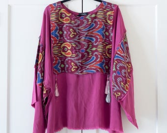 Vintage 1960's 1970's Oversized Bell Sleeve Pink Silk Bohemian Psychedelic Blouse / Multi Color Print / Size M / Hippie / Boho / Flowy