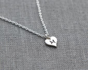 Heart Initial Necklace, Heart Personalized Necklace for Her, Sterling Silver Necklace with Initial, Children's Initial Jewelry