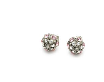 Small Stud Earrings with Baby Pink and Clear Swarovski Crystals
