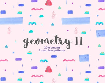 Geometry Clipart, Watercolour Shapes, Party Patterns, Geometry Papers, Geometry 02