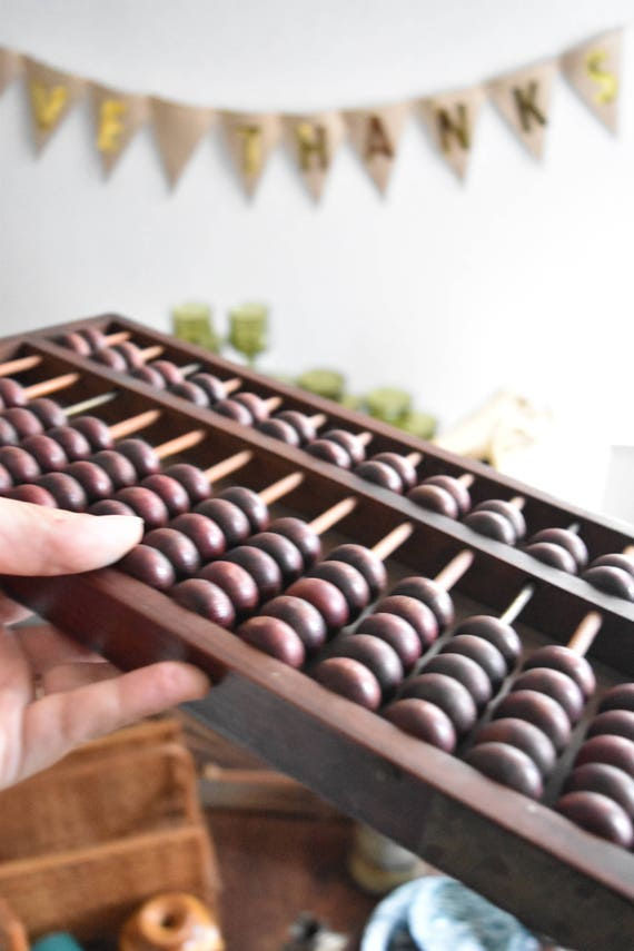 large vintage chinese wooden black abacus counter / counting numbers