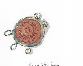 Original watercolor - Antique Judaica Kabbalah silver amulet Iraq Persian Kurdistan-Jewish jewellery-Jewish amulet