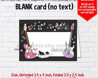 Instant Download, blank Card, ##692 Guitar, music Party food tent Card, place card, 3.5x2.5inch printable , non-editable NOT CUSTOMIZABLE