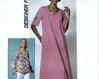 Simplicity 7970 Designer Fashion Vintage 70s Sewing Pattern for Misses' Pants and Caftan or Top - Uncut - Size 10