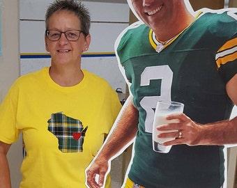 Wisconsin Packer  t-shirt, Wisconsin shirt, packer shirt, Wisconsin with a heart, Applique t-shirt, adult t-shirt