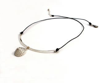 Silver Spiral Curved Bar Black Leather Necklace Sterling Silver Spiral Charm Pendant Hammered Wire Jewelry Swirl Necklace Tribal Jewelry