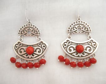 Red Moroccan earrings, Arabian nights jewelry, Silver dangles, Tribal drops, Bohemian jewelry, Moroccan jewelry, Best friend gift, For her.