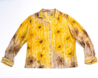 Vera Silk Blouse Vintage Yellow and Brown Poppies Top Long Sleeve Two Tone Poppy Flower Print Scarf Shirt Floral Vera Neumann Plattermatter
