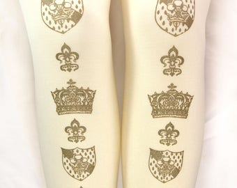 Hime Gyaru Crown Tights Small Medium Gold on Cream Deep Ivory Antique Printed Womens Royal Lolita Dolly Kei