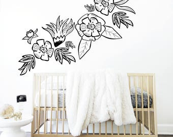 Flower Wall Decal Black White Garland Flower Mural Large Flowers Shelf Adhesive Removable Kids Decor Baby Nursery. Flower Garland Wall Decal