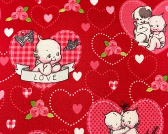 valentine fabric pink and red hearts kewpie fabric by riley blake 100 cotton for