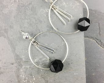 black hoop earrings, black silver hoops, black stone earrings, thin silver hoops, silver hoop earrings medium, bachelorette gift ideas