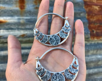Sterling Silver Lunar Moon Cycle Hoop Earrings Ritual Remains Ear Weights Witchy Jewelry 10g Earrings Mountain Earrings 10g Plugs Full Moon