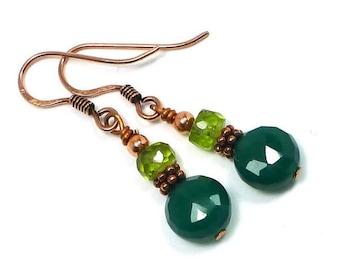 Emerald Green Agate Earrings, St. Patricks Day, Peridot Earrings, Green GemStone Dangle Earrings, Copper Earrings , Dangle Earrings