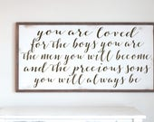 Boys Room Decor, You Are Loved Sons, Nursery Decor, Little Boy Decor, Wood Sign, Rustic Wood Sign, Brothers Room, Gift for Son, Farmhouse