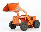 Vintage Structo Bulldozer Structo Front End Loader Bulldozer Truck Orange Structo Truck Vintage Toy Truck 1950's Toy Truck Pressed Steel