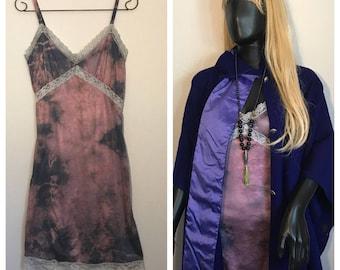Hand dyed unworn vintage dead stock knee length Slip Dress in blush/midnight