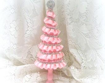 pink christmas tree shabby chic christmas tree pink tree christmas decor pink - Mini Pink Christmas Tree