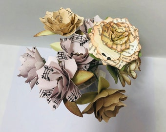 Handmade Paper flowers, Glass Vase, Hand Sculpted 3D Paper Flowers in Glass Beaker,  Vintage Music Note flowers, Vintage Book Note Flower