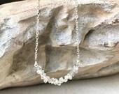 Diamond Necklace, Herkimer Diamond Necklace, Herkimer Diamond Necklace in Gold or Silver, Herkimer Diamond, Rough Herkimer Diamond