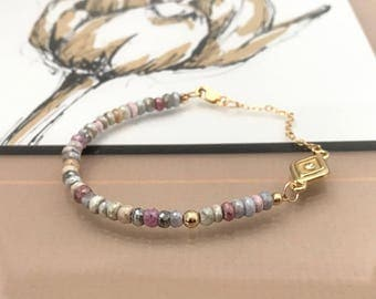 Gold Mixed Sapphire Bracelet with CZ Charm