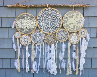 Bohemian Style Wall Hanging, 40 inches wide by 36 inches high, Doily Dream Catchers on a Birch Wood Branch, Hippie Wall Hanging