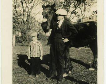 "Vintage Photo ""The Backyard Horse"" Snapshot Antique Black & White Photograph Found Paper Ephemera Vernacular Interior Design Mood - 21"