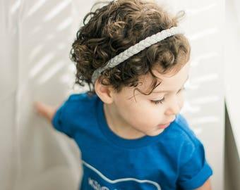 Gray Baby Headwrap - Jersey Baby Headwrap - Gray Braid Headwrap - Thin Baby Headband - Womens Headband - Coming Home Headband
