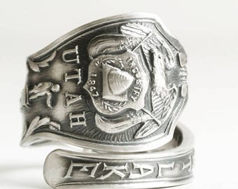 Salt Lake City Utah Ring, Vintage Sterling Silver Spoon Ring, Brigham Young, Sego Lily State Flower, Eagle And Crest, Custom Ring Size, 6770
